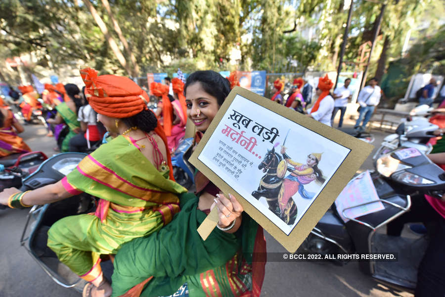 Bike rally held in Pune on Women's Day
