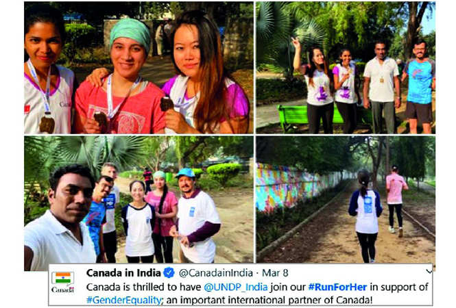 Canadian High Commission's annual Women's Day event, Run For Her was turned into a virtual run, in which participants posted pictures of themselves with the event's hashtag