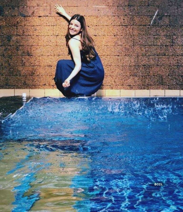 Stunning pictures of actress Kajal Aggarwal enjoying in a pool go viral