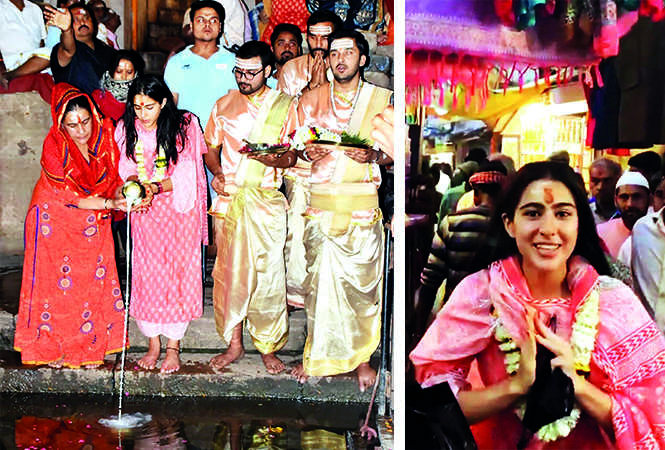 (L) Sara Ali Khan with mom Amrita Singh performing puja (R) Sara Ali Khan in Banaras (BCCL)