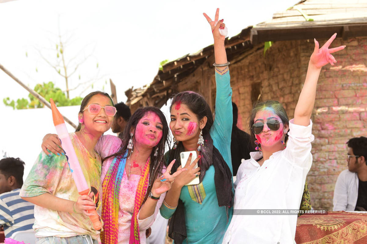 Revelers gathered at various spots to play Holi