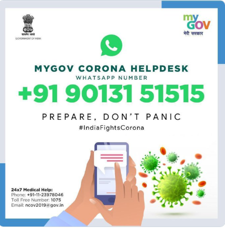 Indian Government launches WhatsApp helpline no. to answer queries on COVID-19