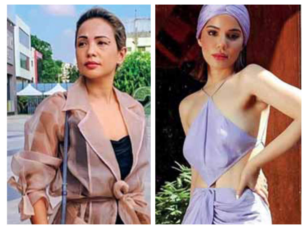 Left to Right: Fashion influencer Nilu Yuleena Thapa wears a sheer organza jacket with a tiger-print skirt, Influencer & YouTuber Roshni Bhatia flaunts her lilac turban and dress