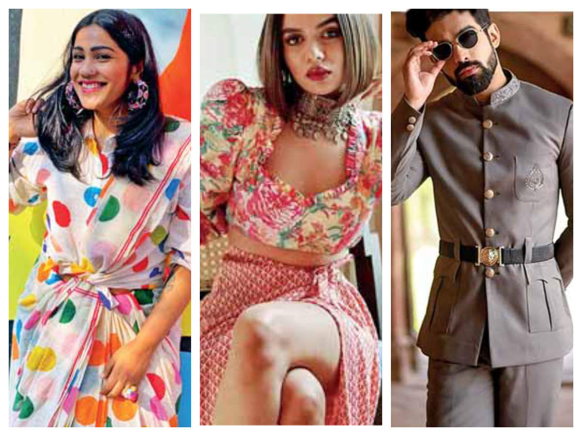 Left to Right:  Fashion blogger Mamta Sharma Das displays a knotted saree look, YouTuber Komal Pandey makes a statement with a choker, floral  top and a side-slit skirt; Lawyer-turned-influencer Karron S Dhinggra belts up his suit to make a personal style statement