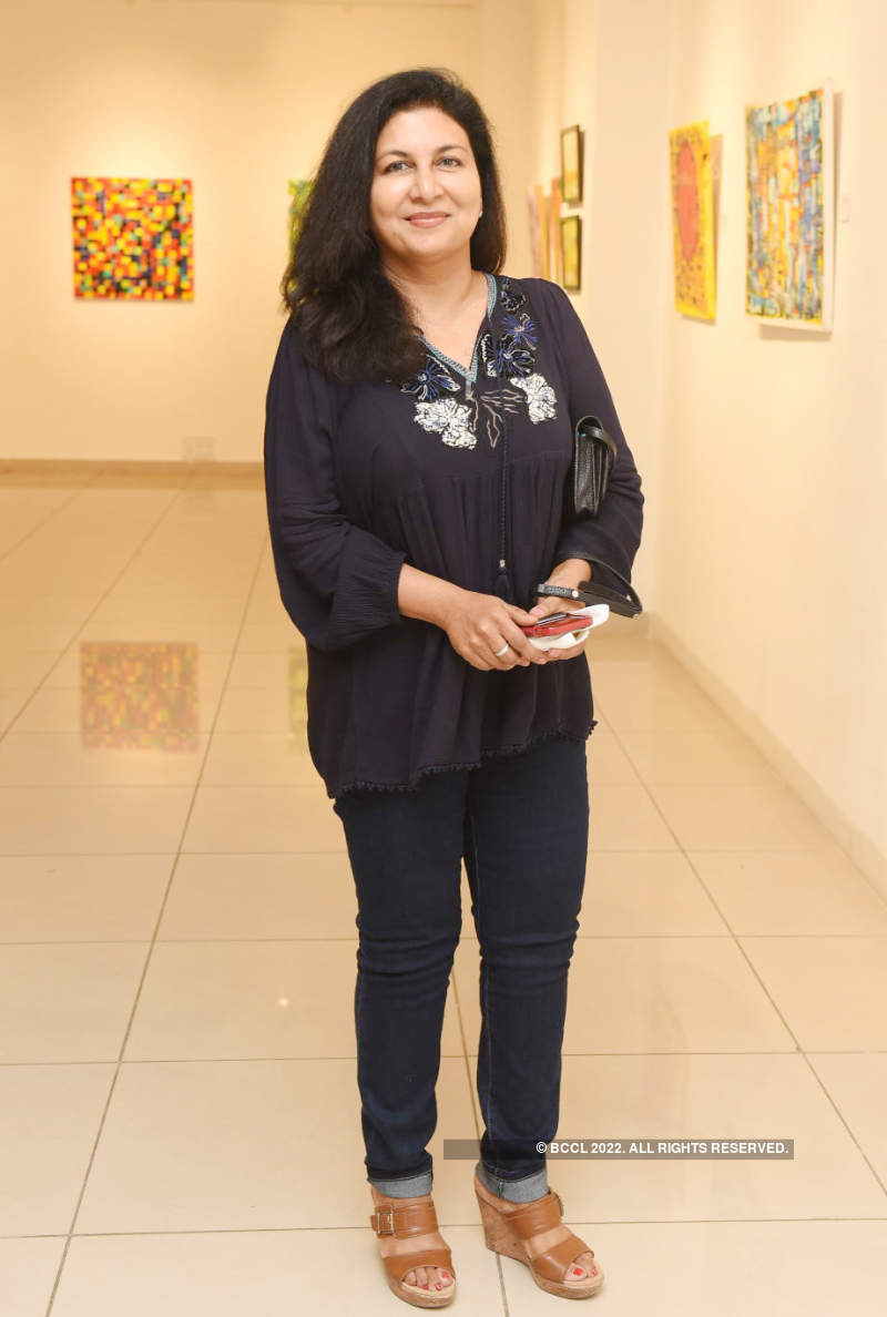 National painter Bharati Shah showcases her work at an art show