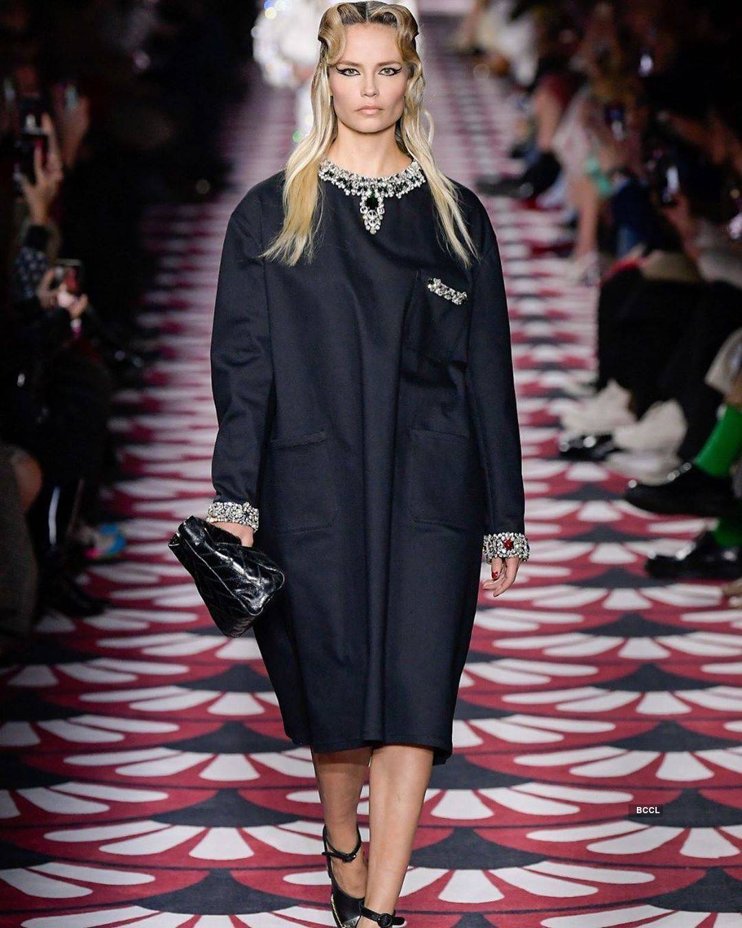 Russian beauty Natasha Poly known for her theatrical moves during the fashion shows is back in business