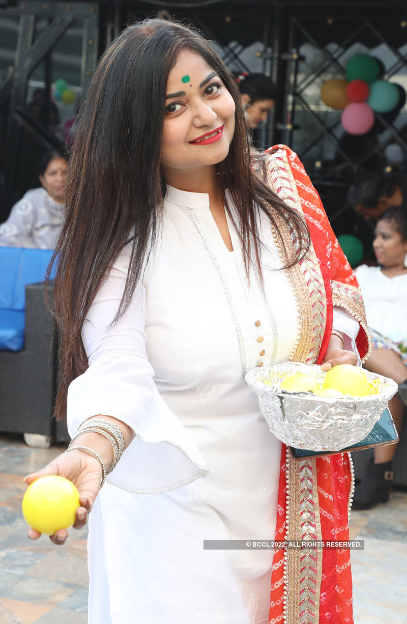 Ladies have a gala time at Holi party