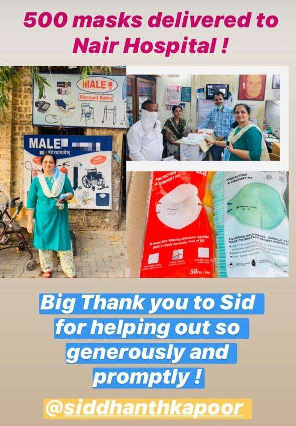 Staff of Nair Hospital thanks Siddhanth for his support