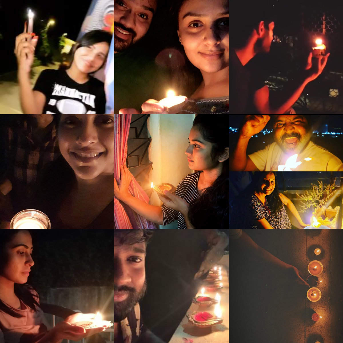 Celebs light diyas and flash lights