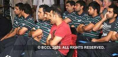 Cricketers at website launch