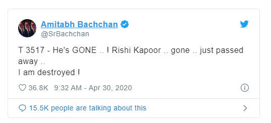 Rishi Kapoor Death News & Update