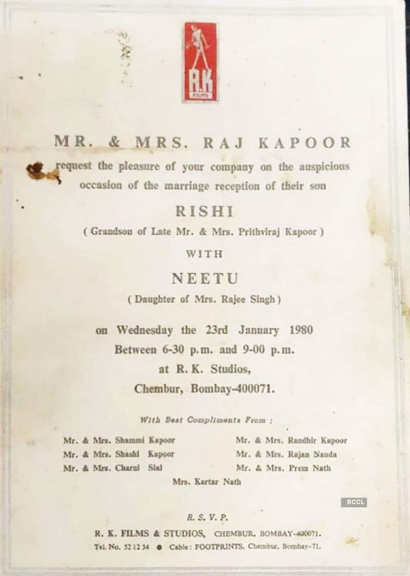 Rishi Kapoor and Neetu Singh's wedding card
