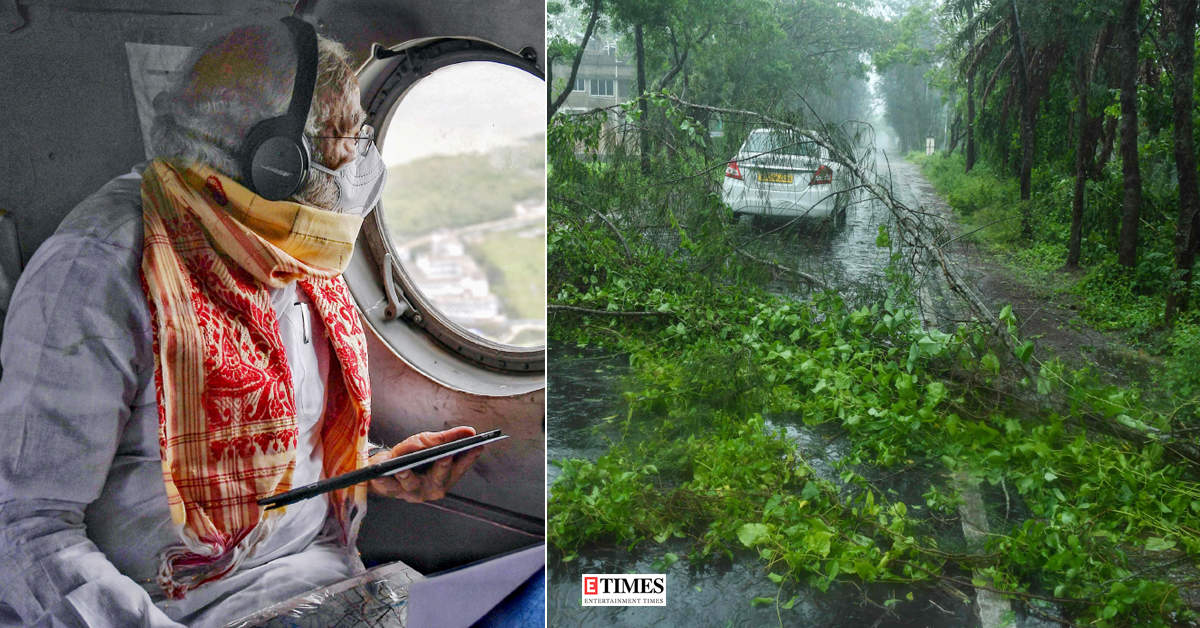 Pictures of Prime Minister Narendra Modi visiting cyclone-hit West Bengal