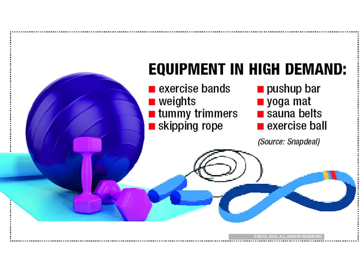 Exercise bands and yoga mats are in high demand