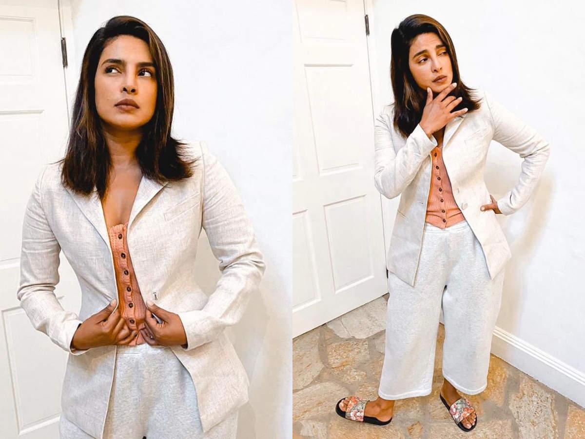 Priyanka Chopra work from home fashion style qurantine