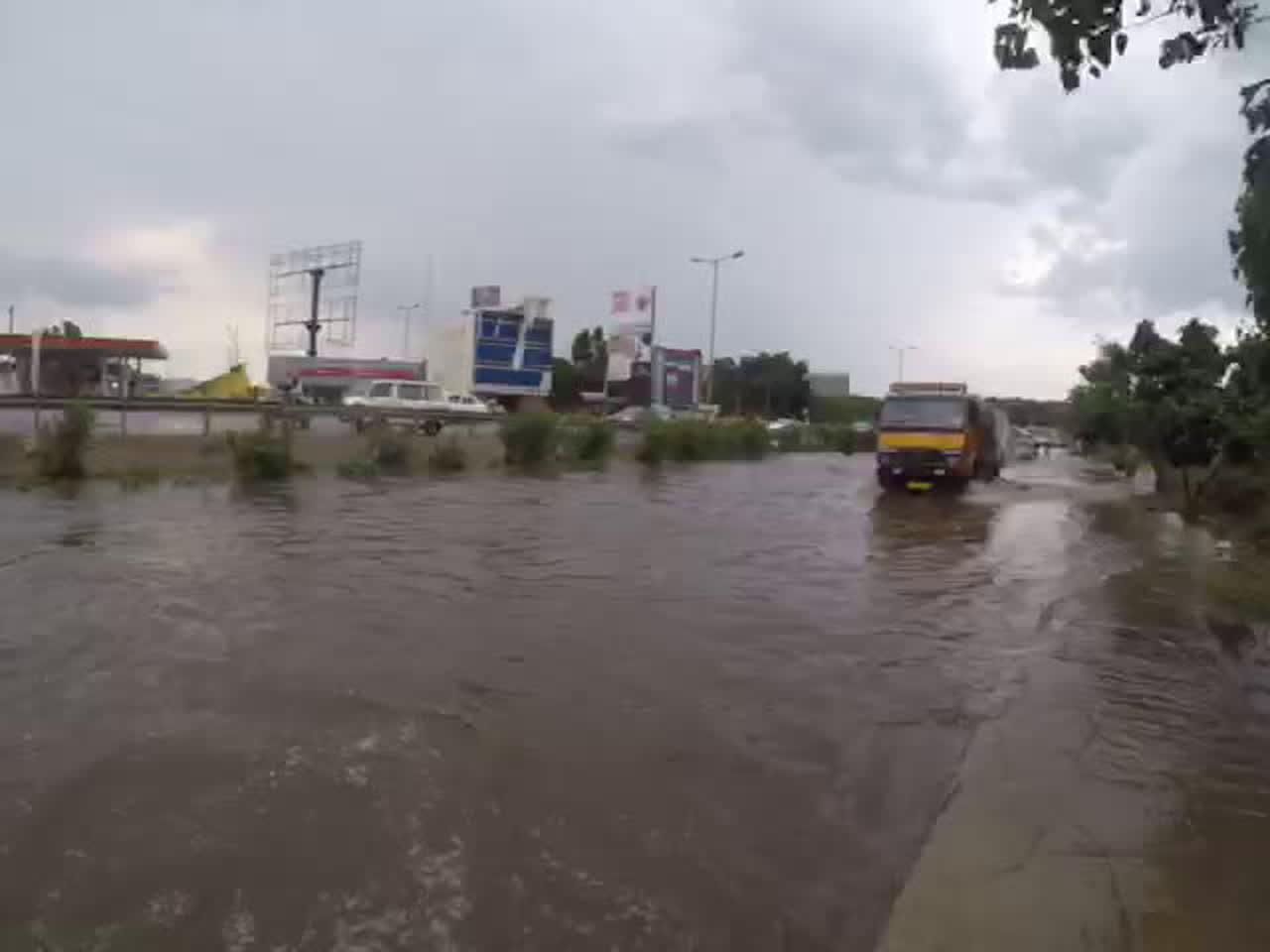 Scenes on Airport Road: Heavy rain causes waterlogging in several parts of Bengaluru