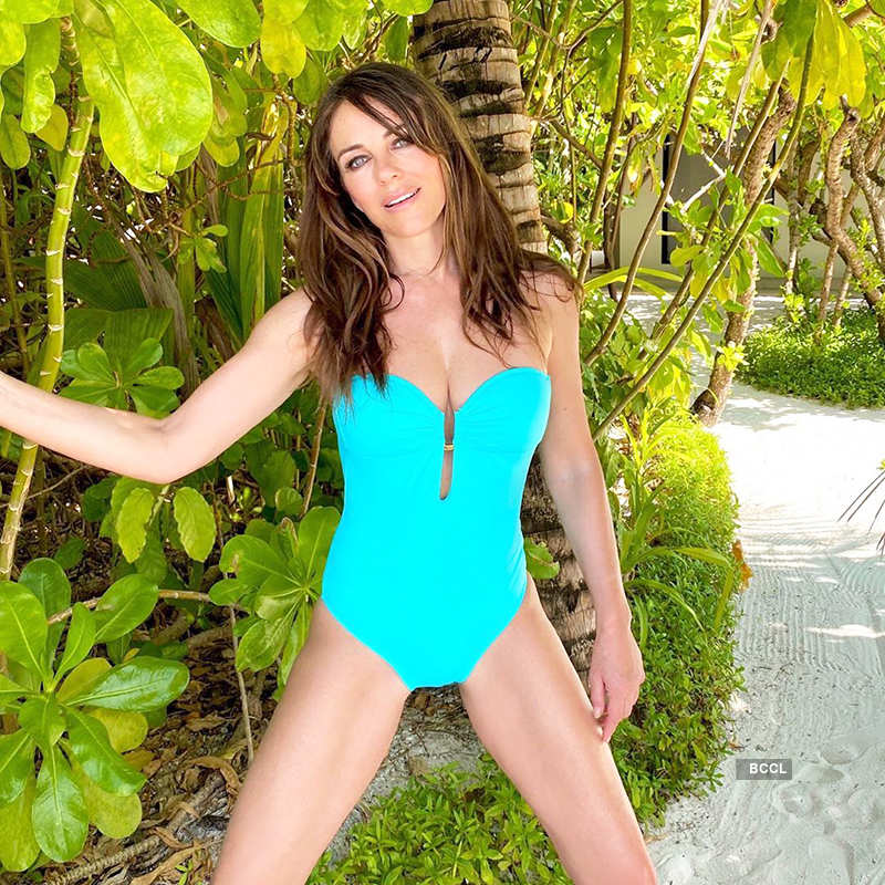 Elizabeth Hurley flaunts her toned body, enjoys her beach vacation