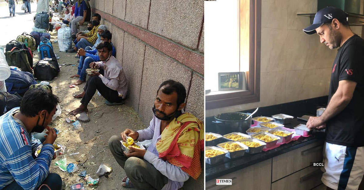 As a heart touching gesture, Virender Sehwag is cooking and distributing food to migrant labourers