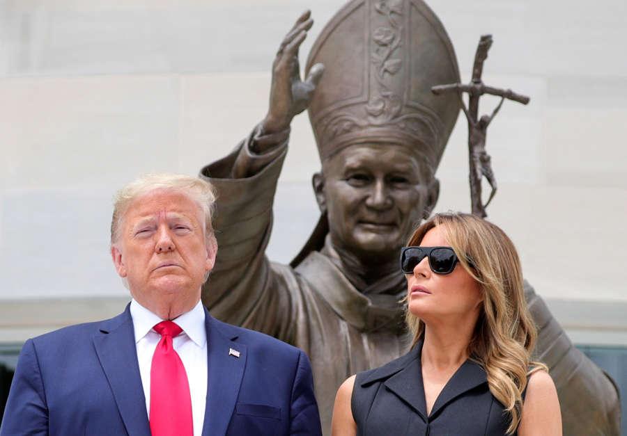 Donald Trump visits historic John Paul II shrine amid protests