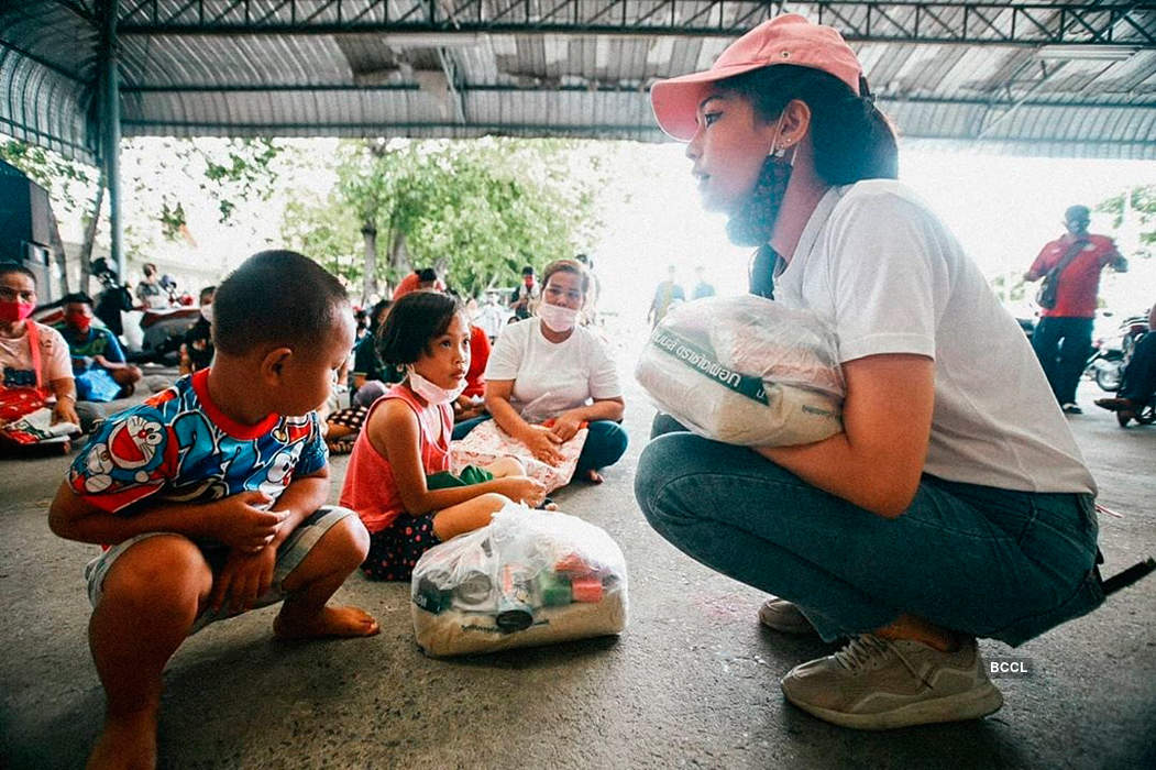 Miss International 2019 Sireethorn Leearamwat helps the needy amid coronavirus
