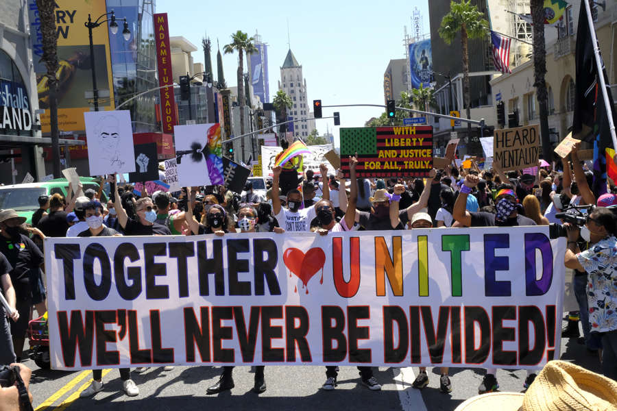 Thousands join protest rally against racism in Los Angeles