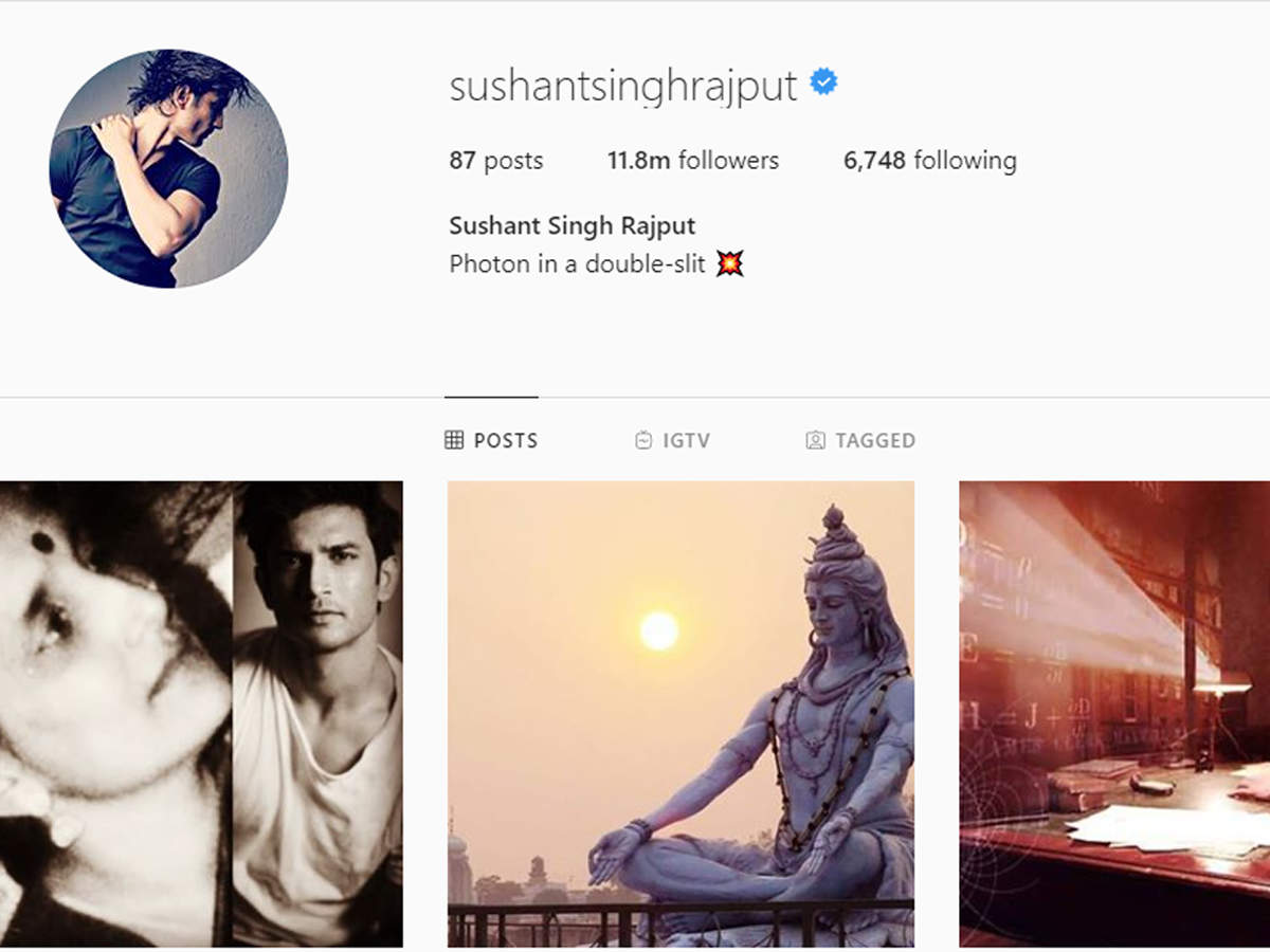 Sushant Singh Rajput Instagram Account.