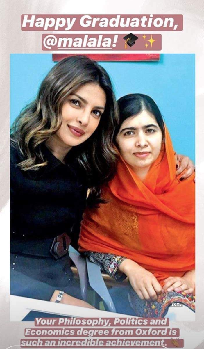 Priyanka Chopra shares this picture to celebrate Malala Yousafzai's completion of Oxford degree