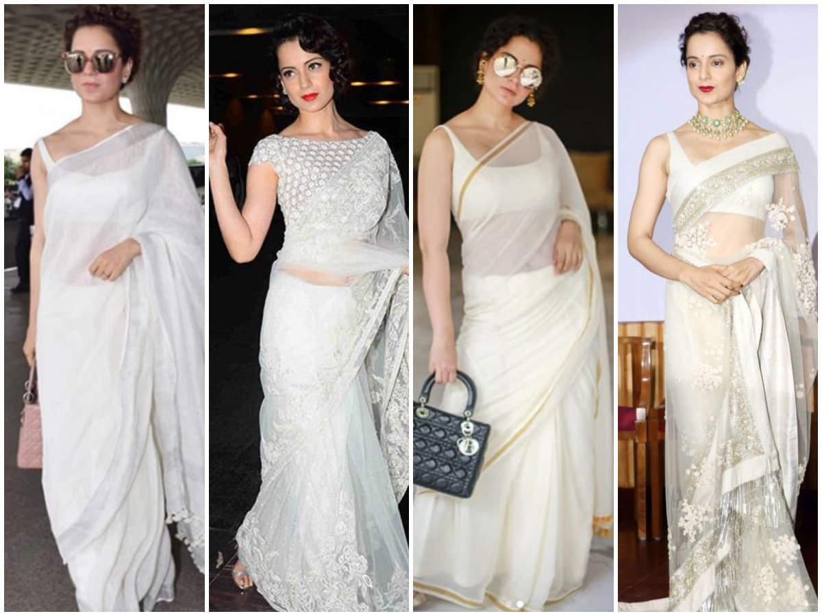 Kangana Ranaut white sarees