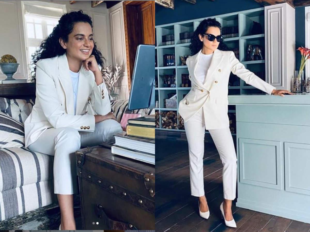 Kangana Ranaut white pantsuit