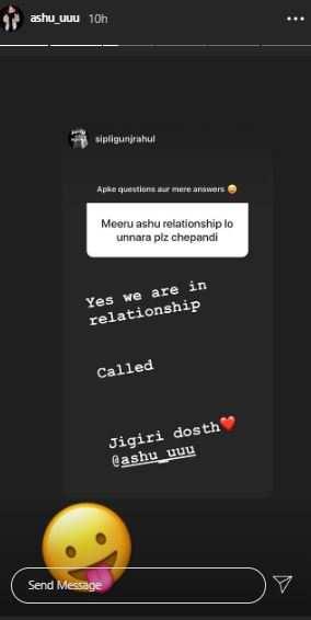 Ashu reacts to Rahul's Insta story