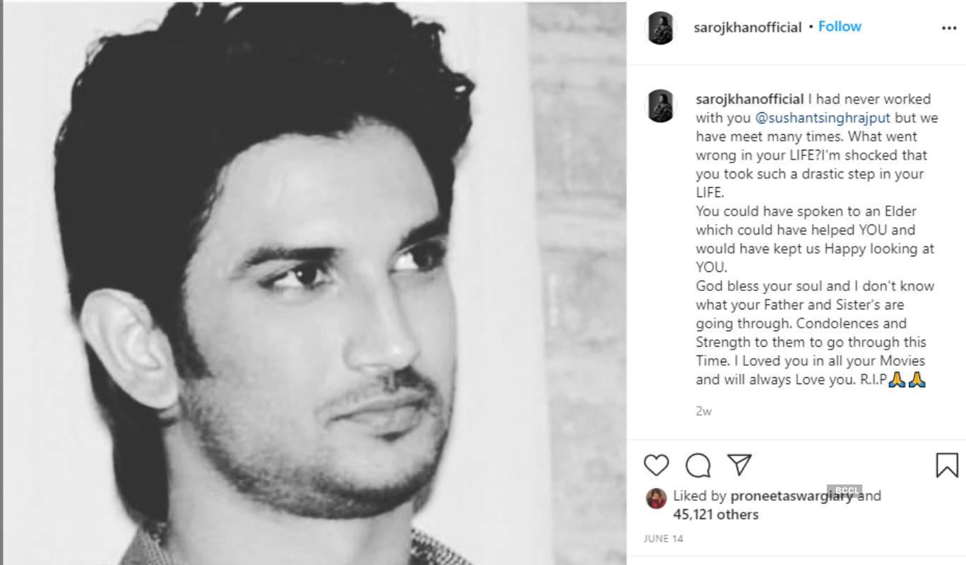 Saroj Khan's last Instagram post was in the memory of late actor Sushant Singh Rajput