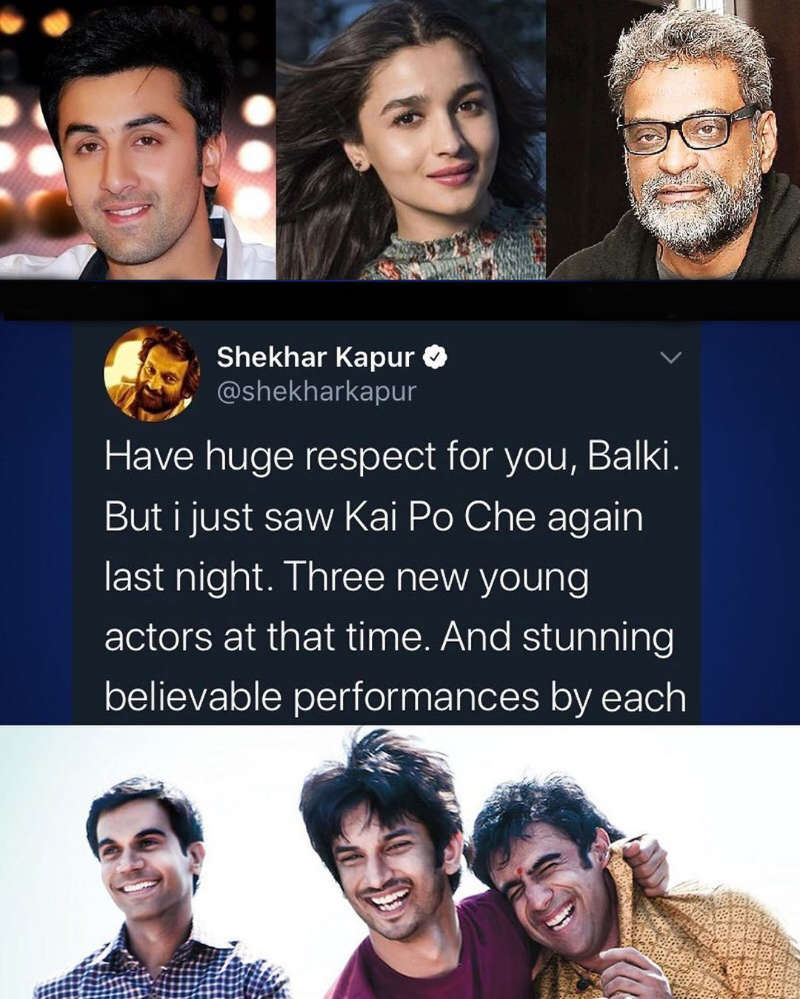 "Shekhar Kapur reacts to R Balki's ""Find me better actors than Alia Bhatt, Ranbir Kapoor"" statement"