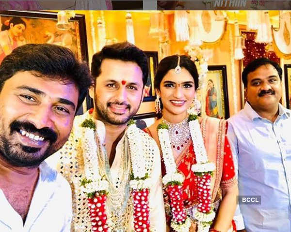 New pictures from Telugu actor Nithiin and girlfriend Shalini's private wedding ceremony