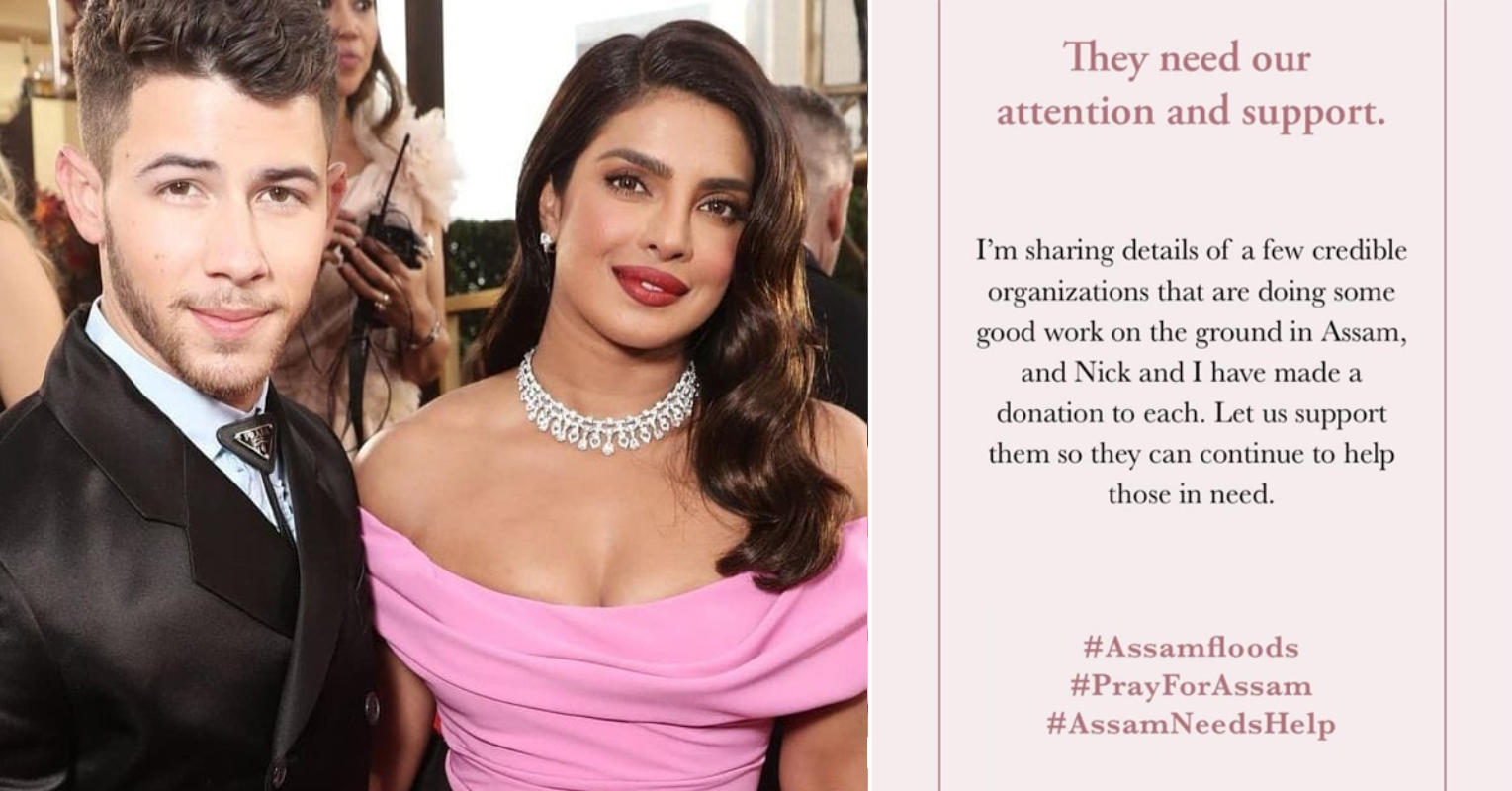 Priyanka Chopra & Nick Jonas extend their helping hands in Assam flood relief; urge people to donate