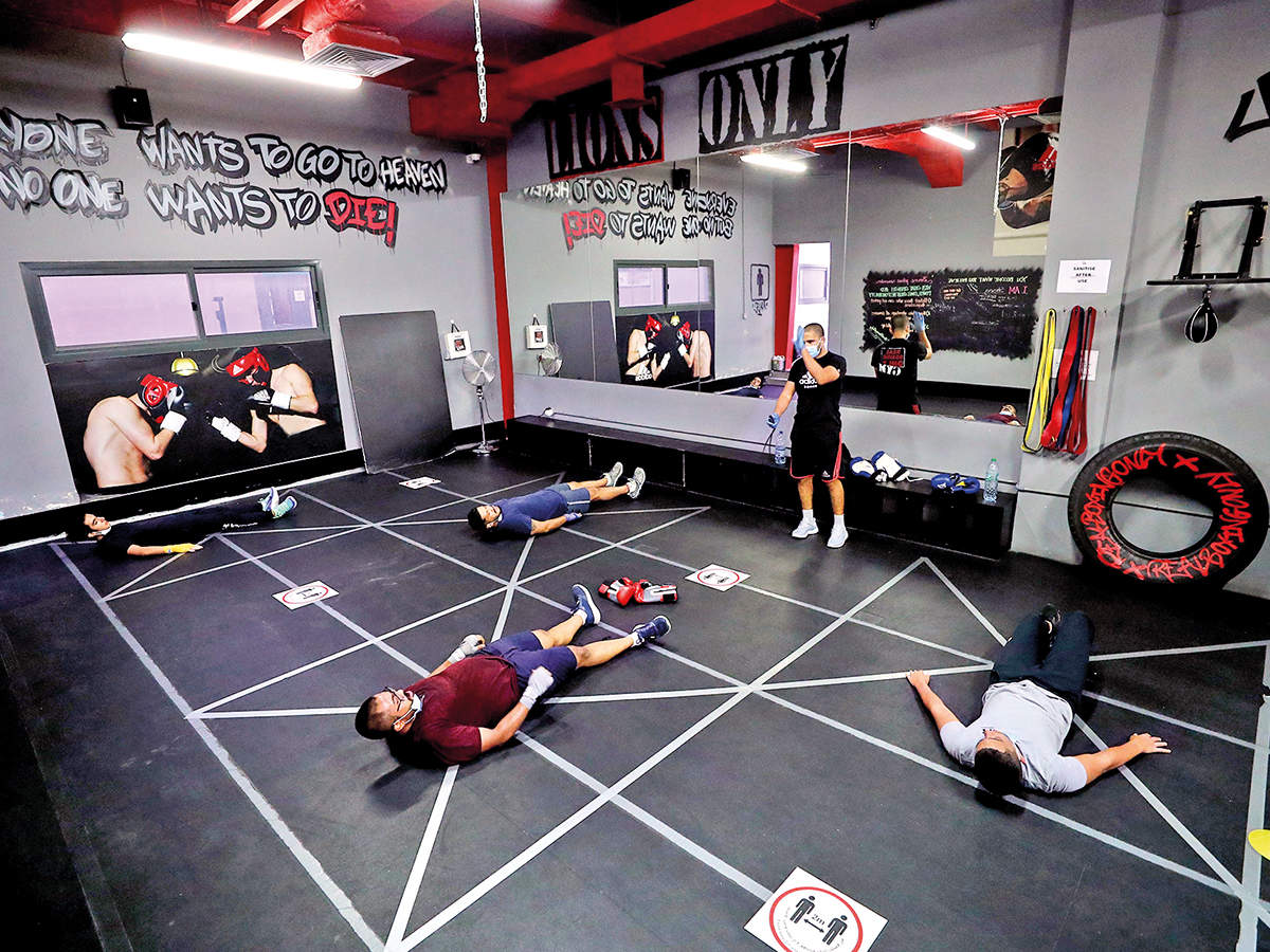 As gyms get the green light to reopen during Unlock 3.0, gym owners are focussing on maintaining social distancing amongst gym-goers. In Dubai, a gym has placed floor markers for social distancing. (BCCL)
