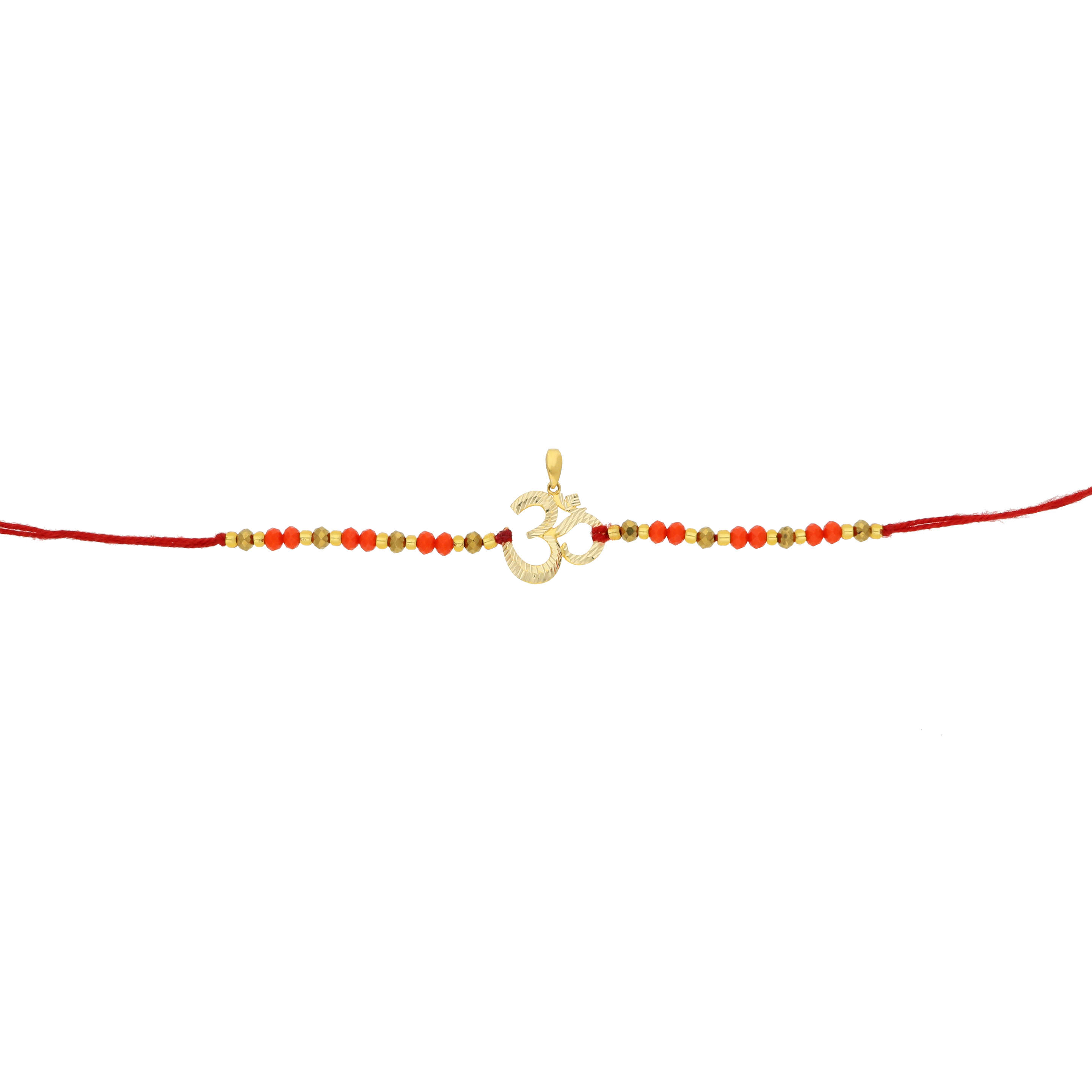 OM inspired rakhi crafted in 18K gold by Aisshpra Gems and Jewels