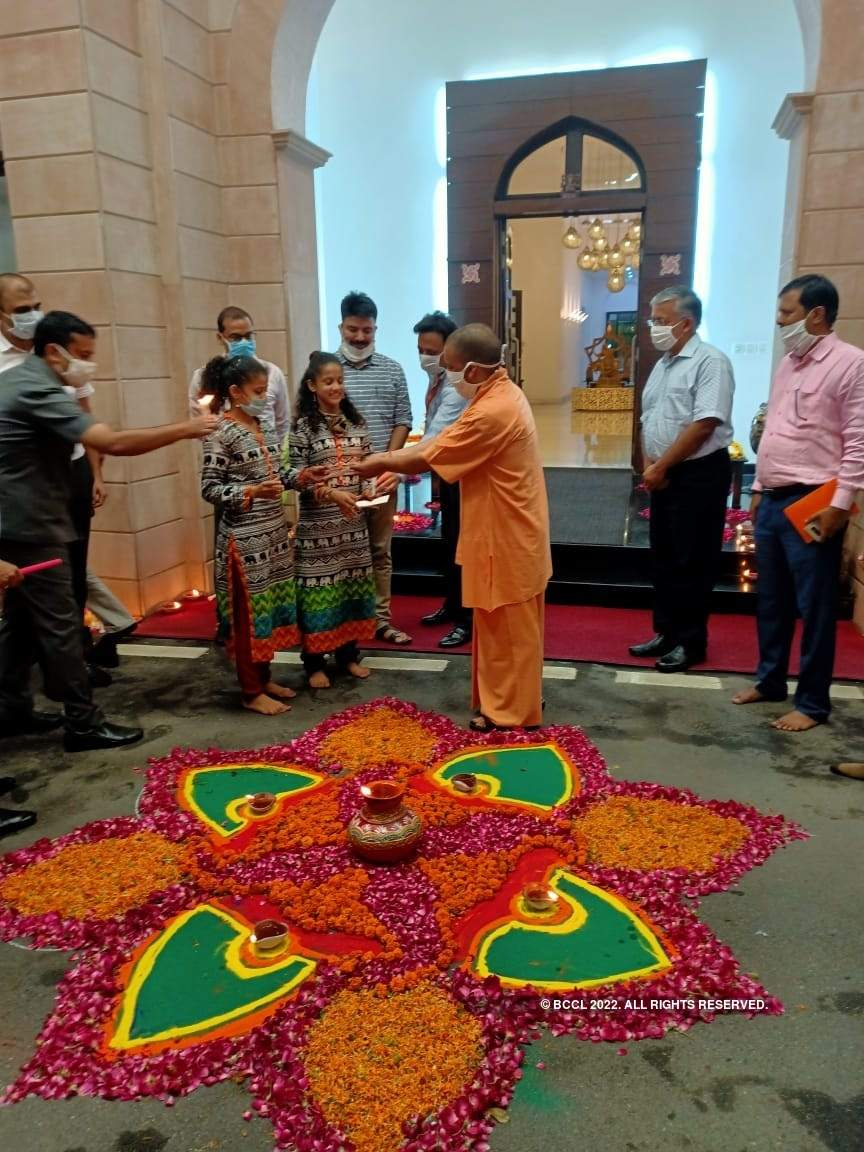 Pictures of Yogi lighting up his house with diyas ahead of 'bhumi pujan'