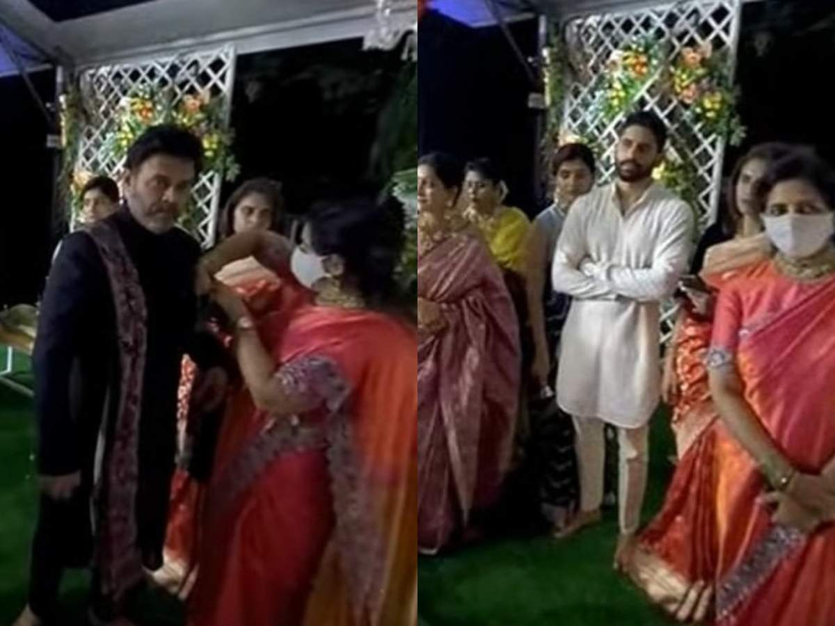 Venkatesh and Naga Chaitanya spotted at the wedding