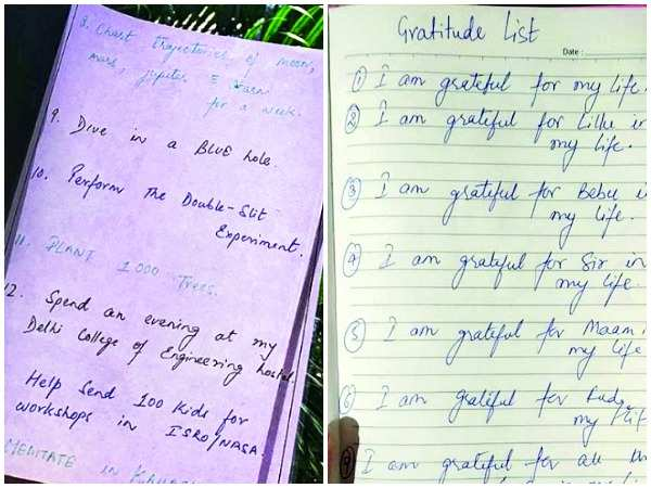 A note written by Sushant and the gratitude list shared by Rhea