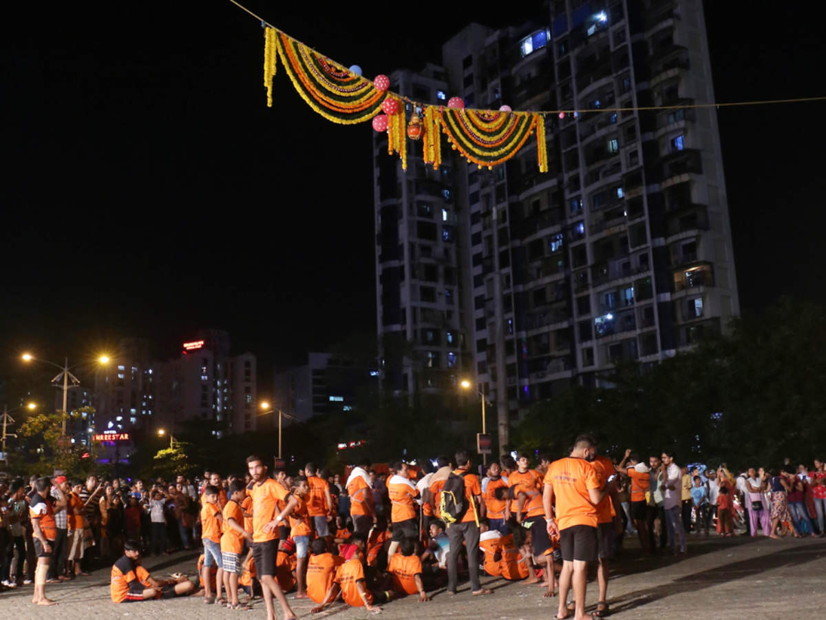 Dahi Handi celebration at night in Navi Mumbai, Maharashtra, India. 24-AUG-2019