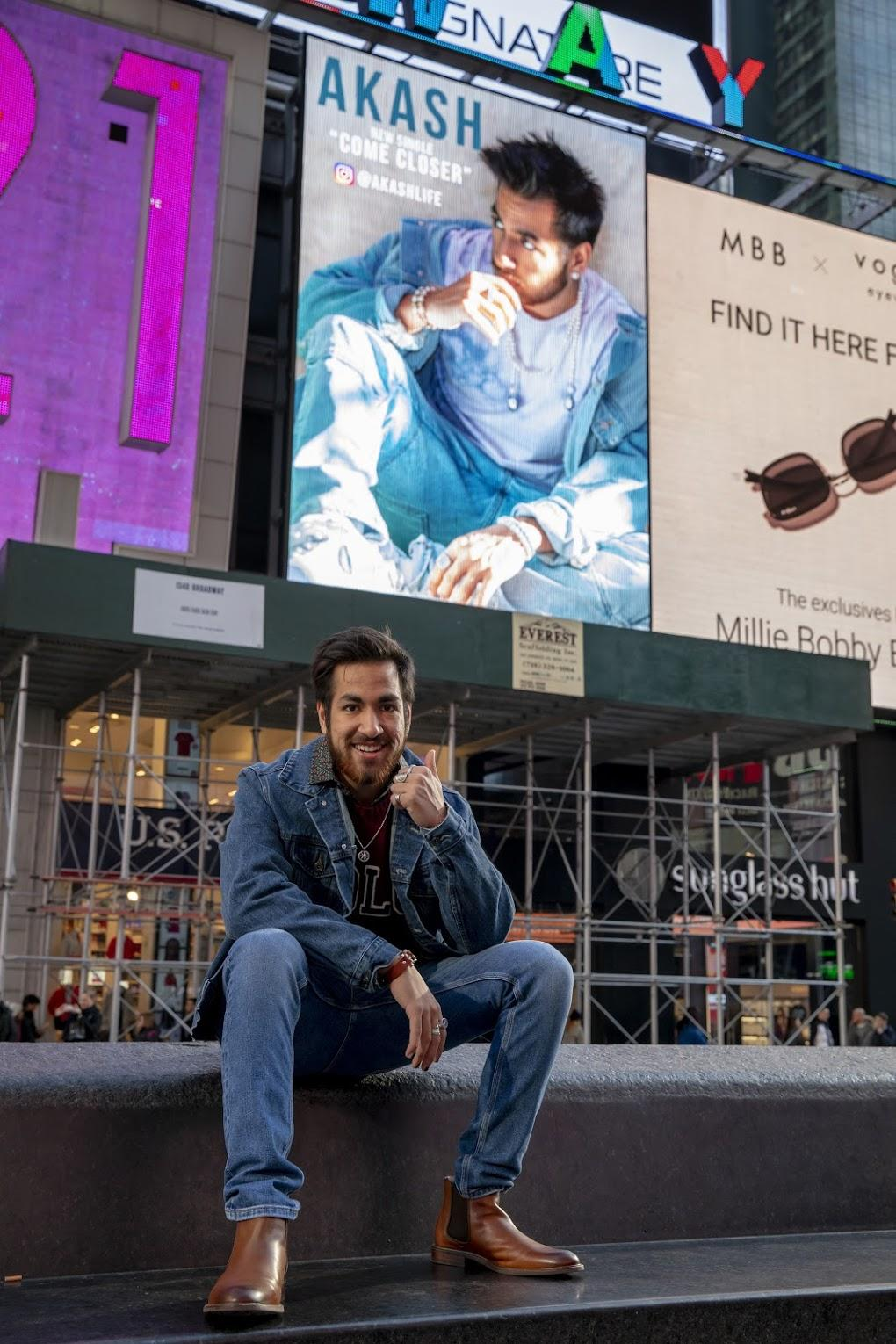 Pictures of Akash Ahuja, the first Indian artist with a billboard in Times Square