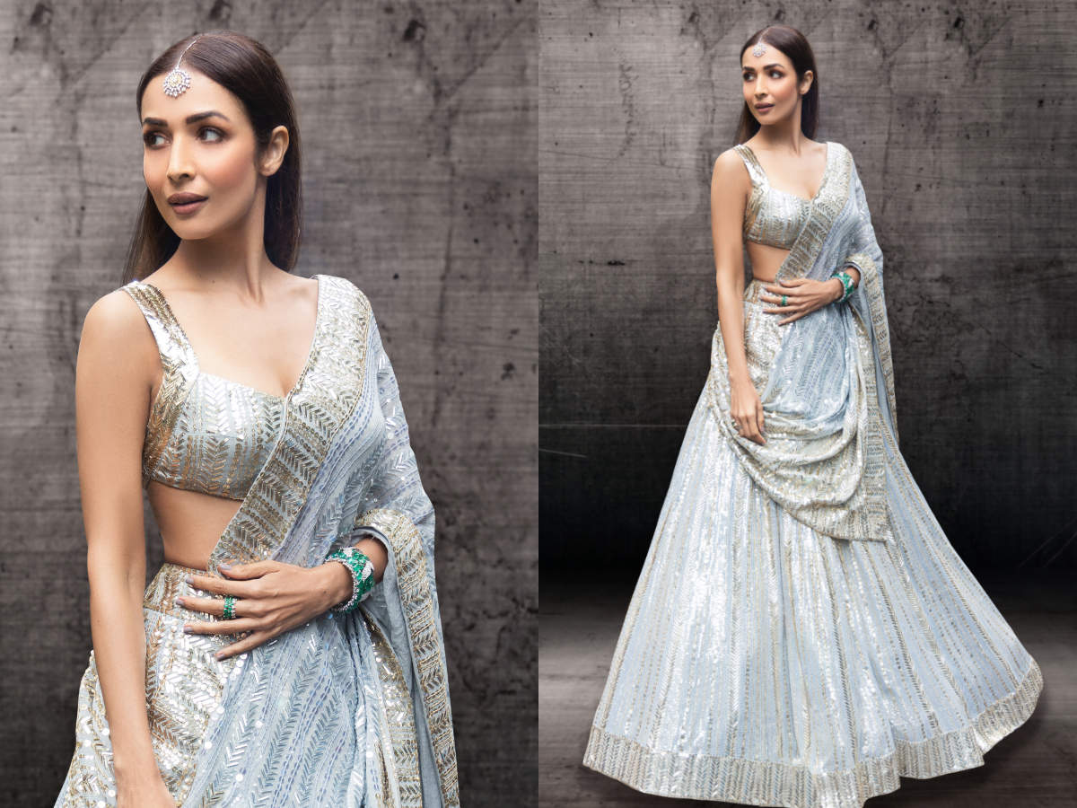 Malaika Arora's lehenga is the perfect mix of pastel hues and shimmer! -  Times of India