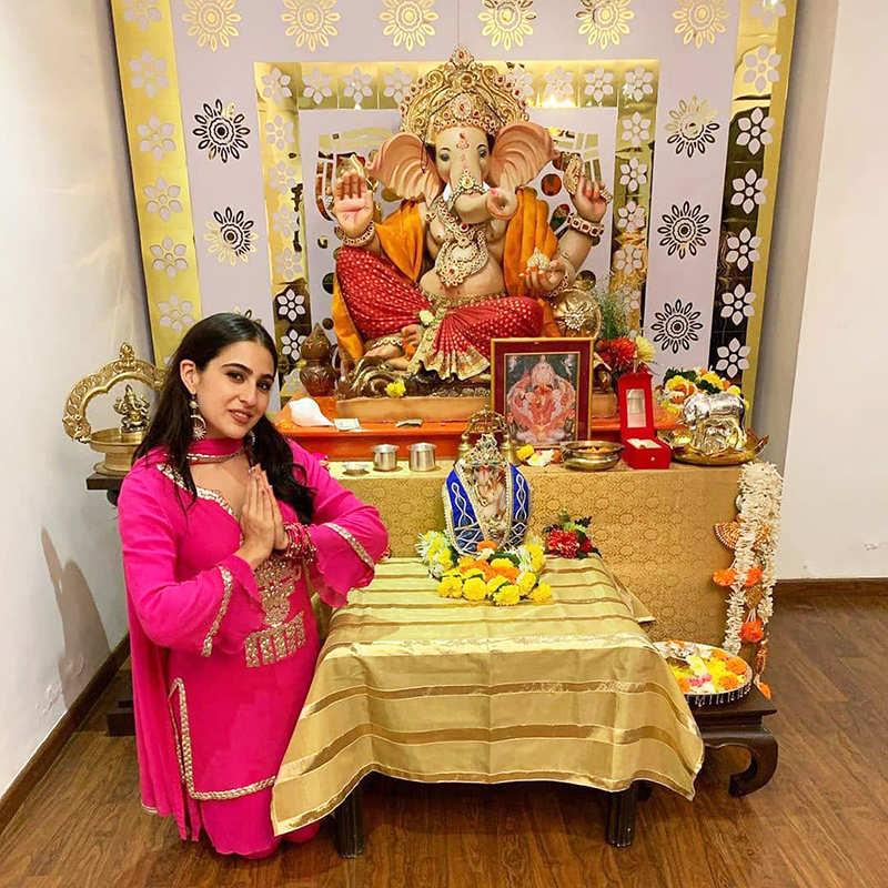 Pictures from Sara Ali Khan's Ganesh Utsav celebration…