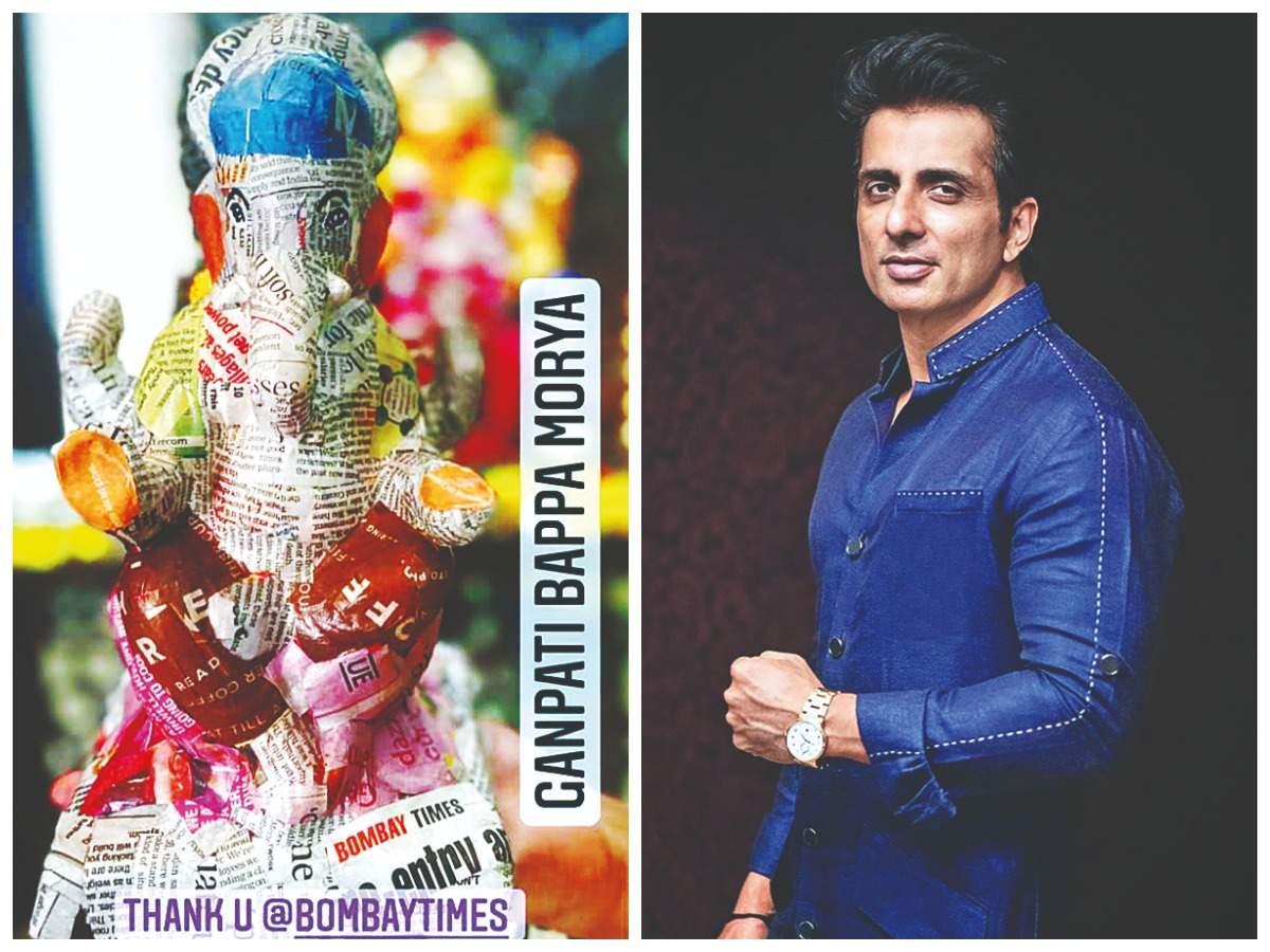 Sonu Sood with his eco-friendly Ganesha (Pic Courtesy: Instagram)