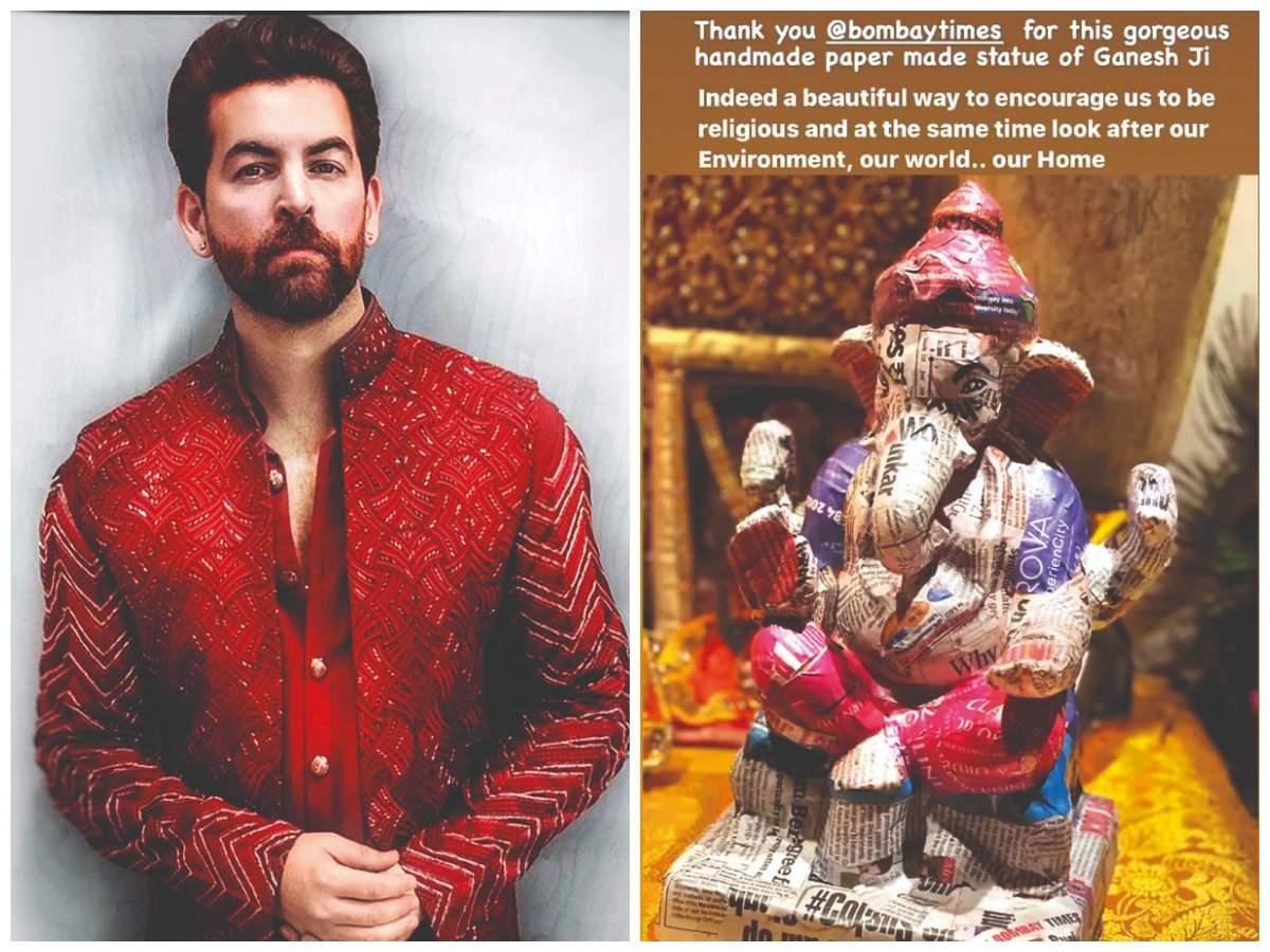 Neil Nitin Mukesh with his eco-friendly Ganesha (Pic Courtesy: Instagram)