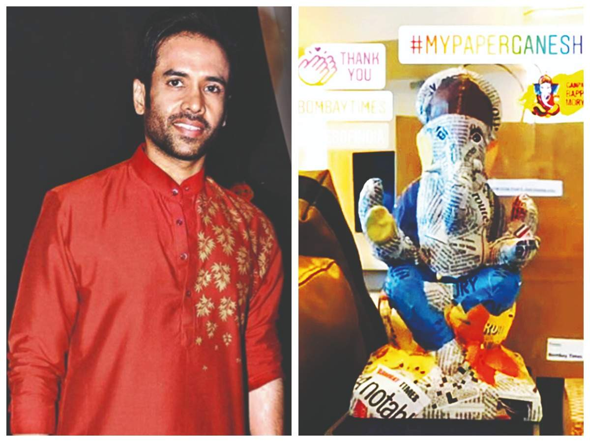 Tusshar Kapoor with his eco-friendly Ganesha (Pic Courtesy: Instagram)
