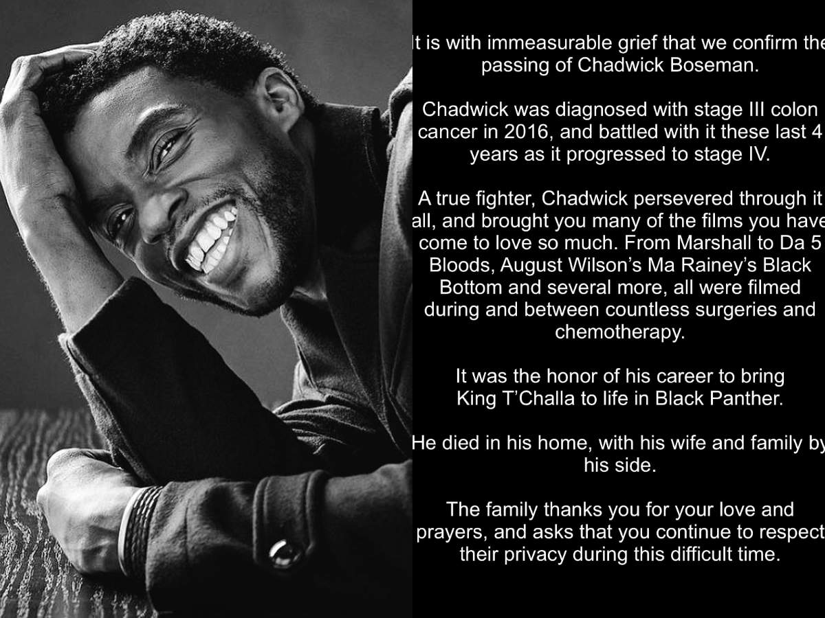Black Panther Star Chadwick Boseman Dies Of Colon Cancer Here Is Everything You Need To Know About The Condition The Times Of India