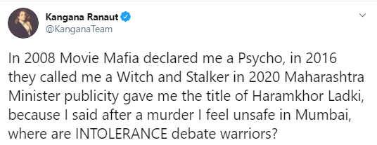 kangana intolerance tweet