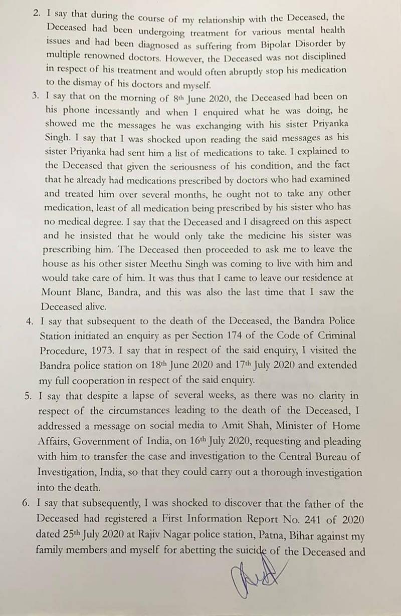 Rhea Chakraborty files an FIR against Sushant Singh Rajput's sister for forgery