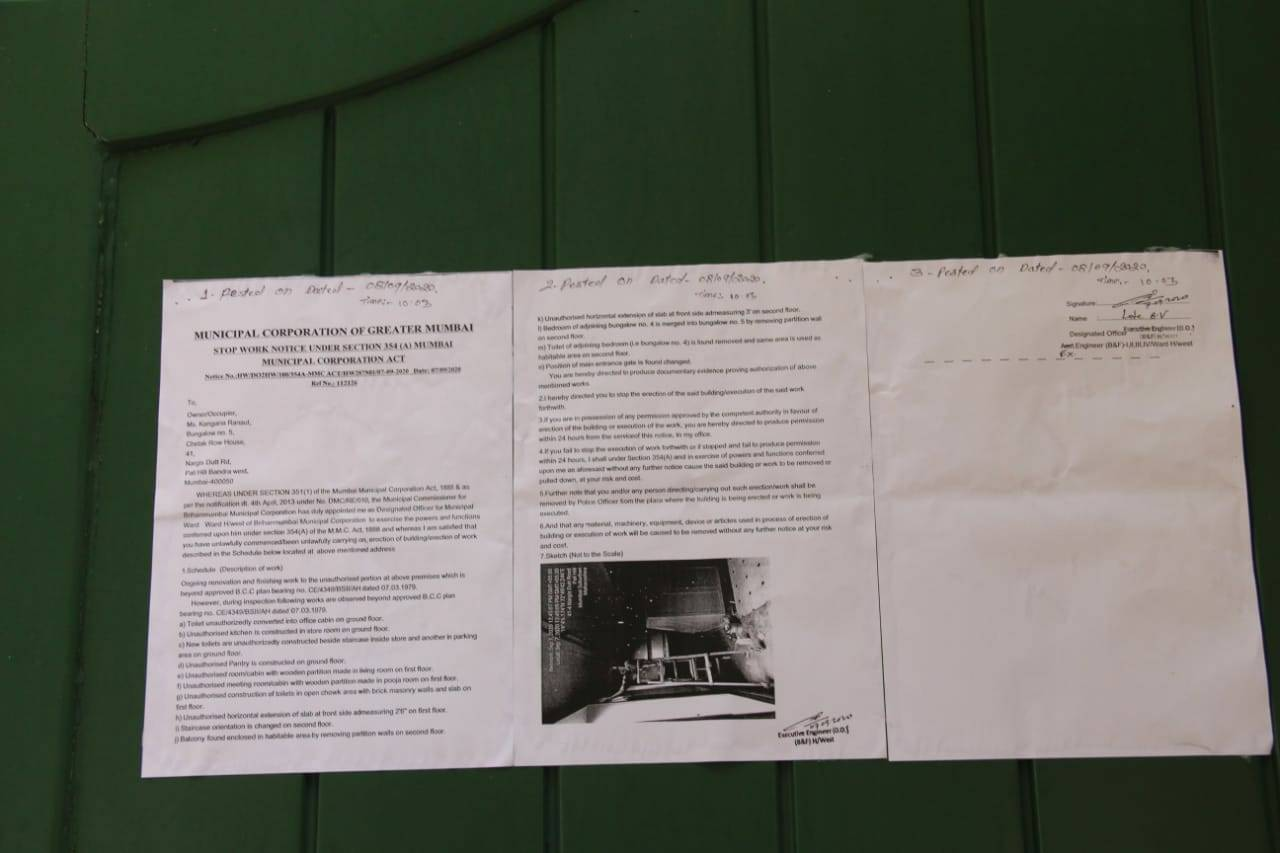 BMC Notice Kangana